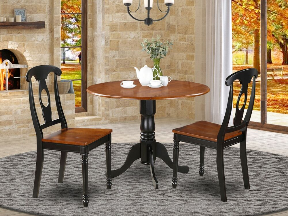 3pc dinette 42 round drop leaf pedestal table 2 kenley for Round kitchen table with leaf
