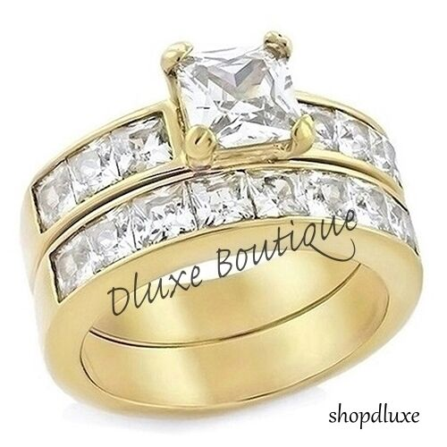 Gold Plated Wedding Rings: 3.75 Ct Princess Cut AAA CZ 14k Gold Plated Wedding Ring