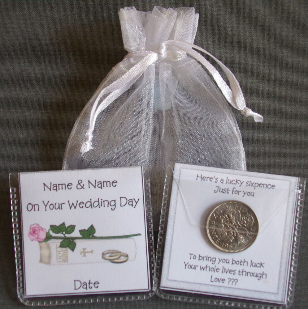 Bride To Groom Wedding Gifts: PERSONALISED LUCKY SIXPENCE BRIDE & GROOM WEDDING KEEPSAKE
