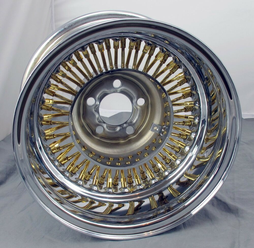 "Wicked Wires Gold 60 Spoke 13"" Wheel Rim - 5x100mm Bolt Pattern - Part # 376023  eBay"