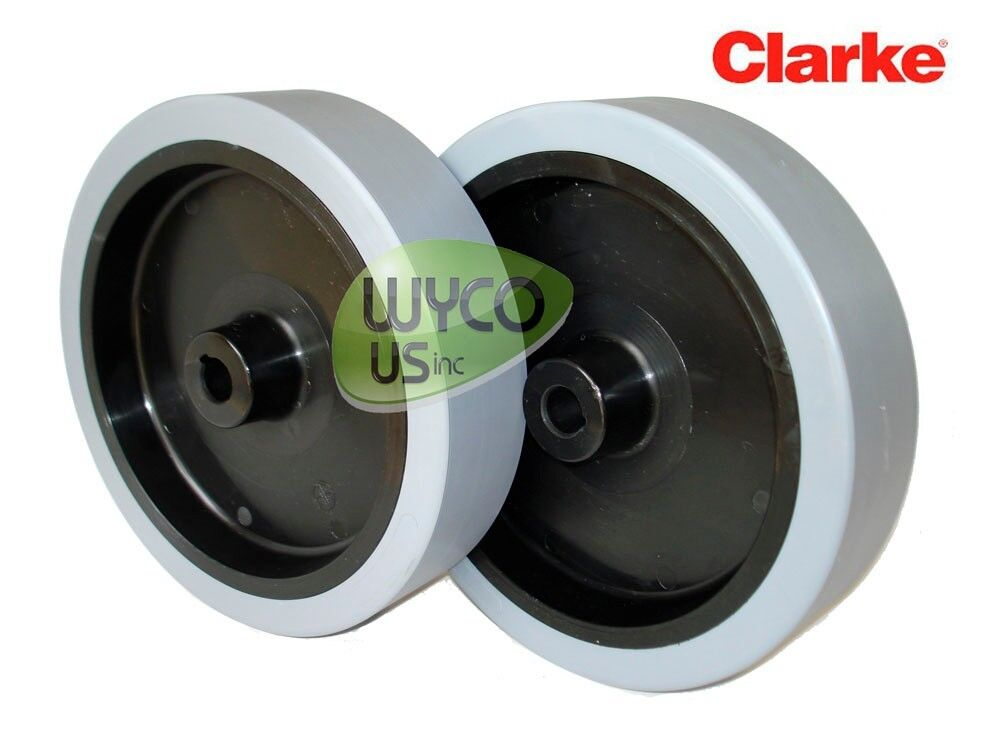 2 Wheel Assemblies For Clarke Focus Ii Floor Scrubber Oem