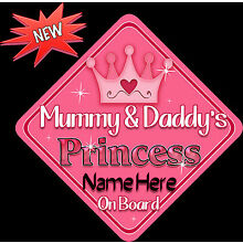MYCR Personalised Baby On Board Car Sign Blue ~ Silver Brothers New