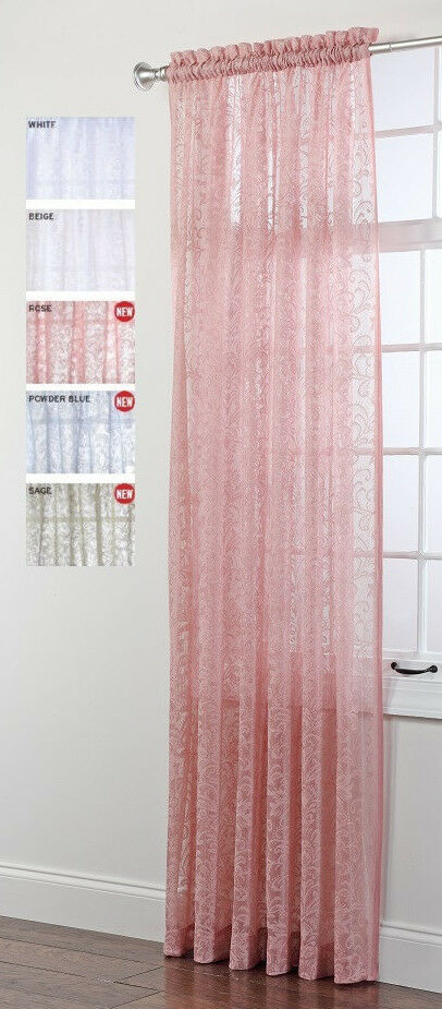 Mia Decorative Sheer Lace Curtain Panel, 84 Inches Long  eBay