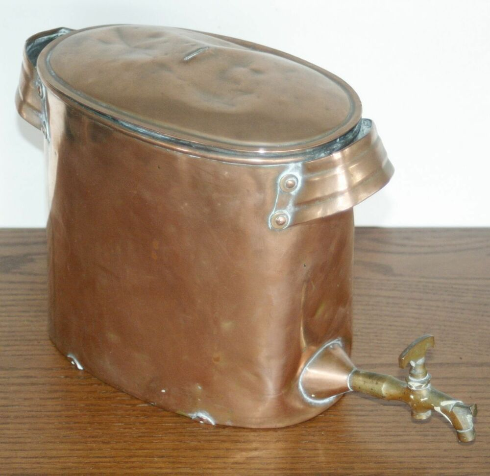 Antique landers frary clark copper pot water tank with for Copper water tank