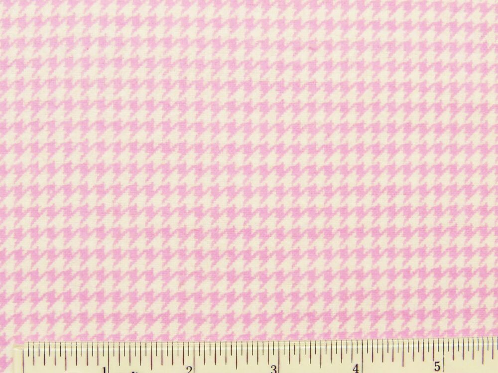 Houndstooth pink white nursery baby girl cotton flannel for Nursery cotton fabric