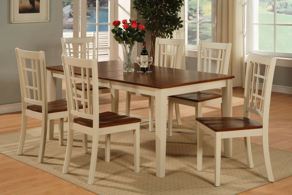 6 pc dinette kitchen dining table with 4 chairs 1 bench for Kitchen dinette sets