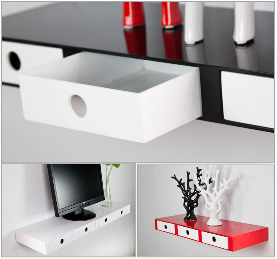 high gloss floating wall shelves cd book display with inside drawers ebay. Black Bedroom Furniture Sets. Home Design Ideas