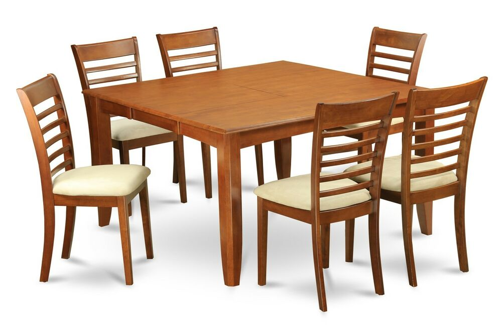 5 PC DINETTE SET PARFAIT TABLE With 4 MILAN UPHOLSTERED CHAIRS IN SADDLE BROW