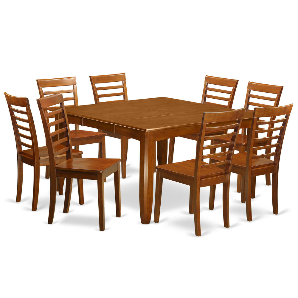 PC DINETTE SET PARFAIT TABLE with 8 MILAN WOOD SEAT CHAIRS IN SADDLE ...