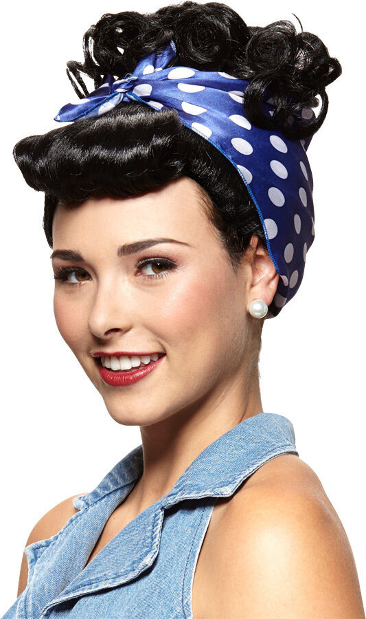 I Love Lucy Rivetor Adult Wig Black Red Curly Hair Riveter