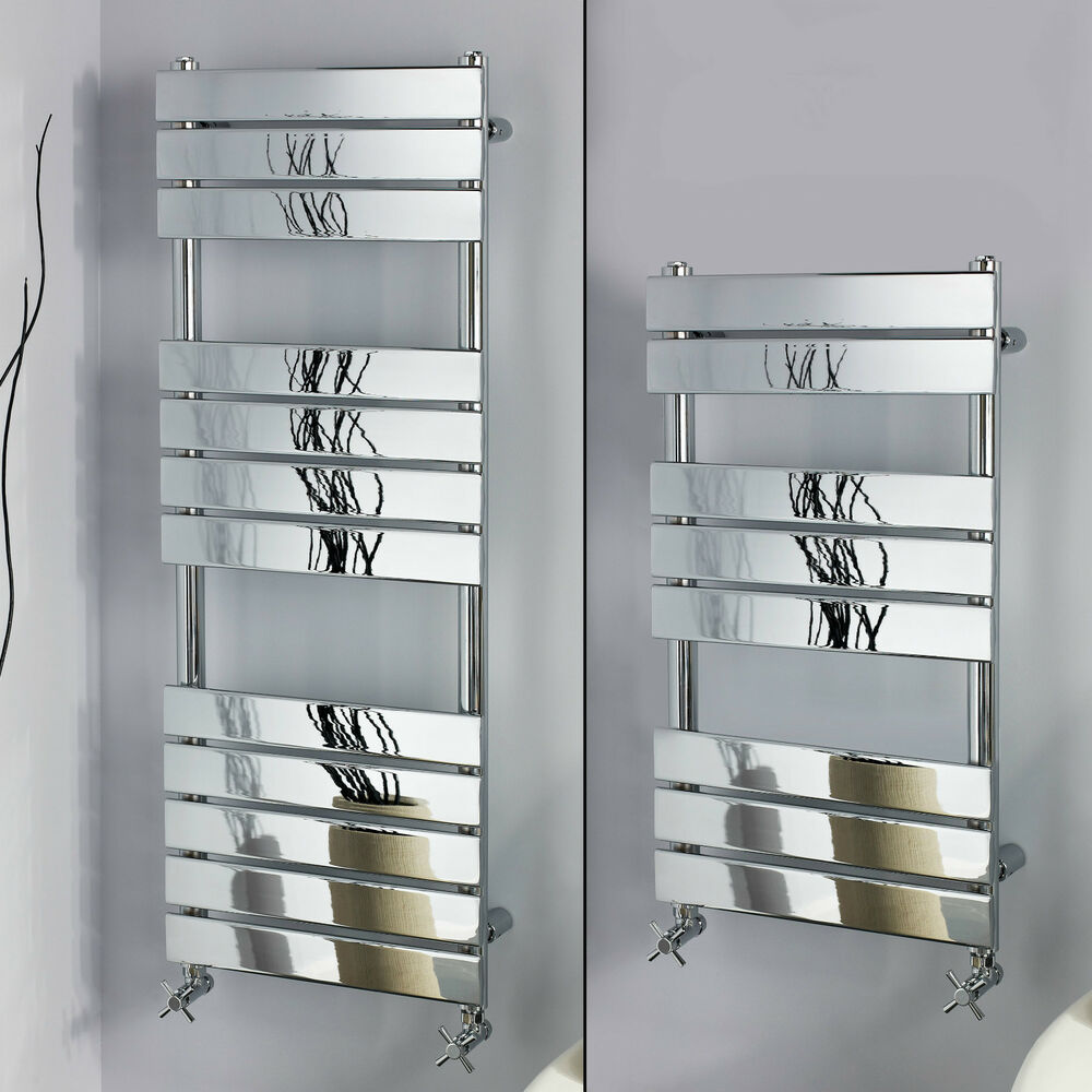 Ladder Heated Towel Rails: CHROME BATHROOM FLAT PANEL LADDER DESIGNER HEATED TOWEL
