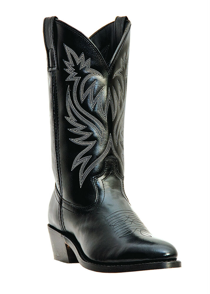 New Mens Laredo London Black Leather Western Cowboy Boots