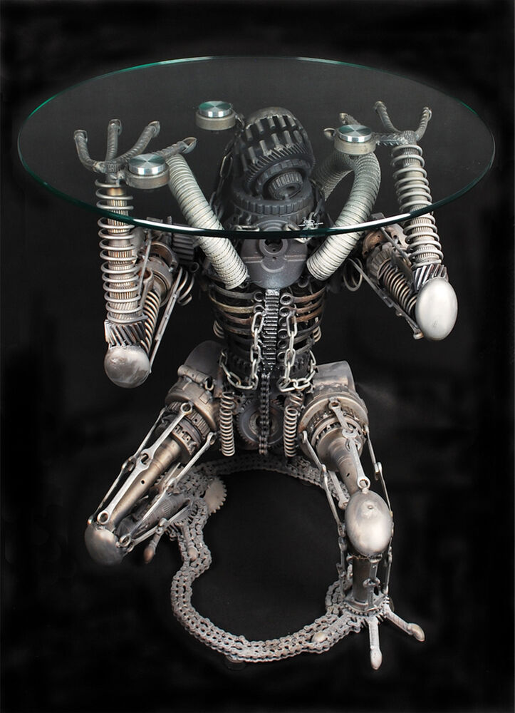 Alien predator metal sculpture figure glass coffee table