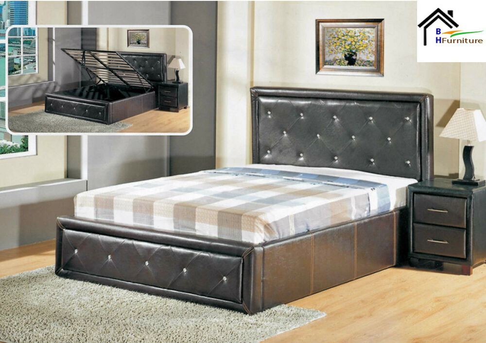 Ottoman storage gas lift up single double king size bed - Lift up storage bed ...