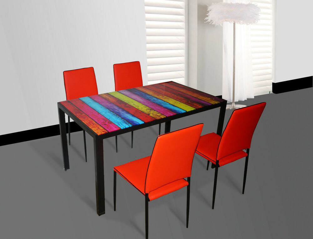 7Star Glass Multi Colour Dining Table and 4 Faux Leather  : s l1000 from www.ebay.co.uk size 1000 x 762 jpeg 67kB