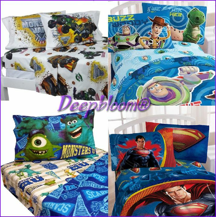 kids boys bed room sheet set 3 pc twin cars monster jam disney