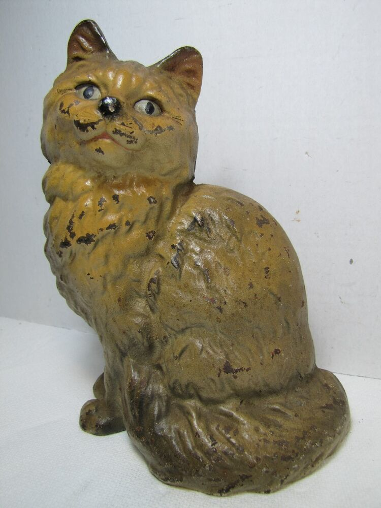 Antique Cast Iron Cat Doorstop Kitty Sitting Old Original Paint Unusual Color Ebay