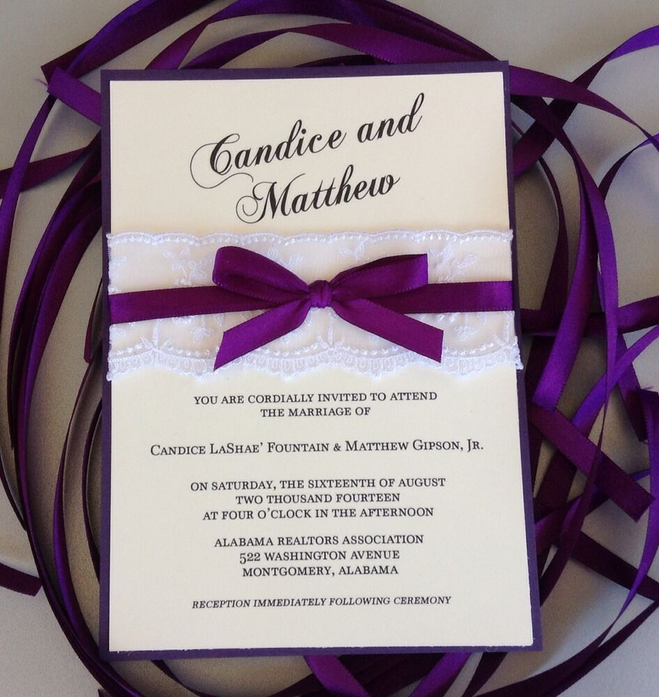 Dark Purple And Cream Wedding Invitation With White Lace