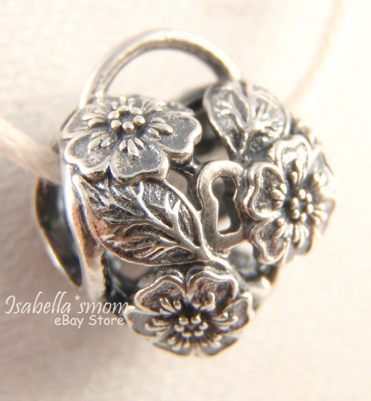 Floral Heart Padlock Authentic Pandora Silver Flower Heart