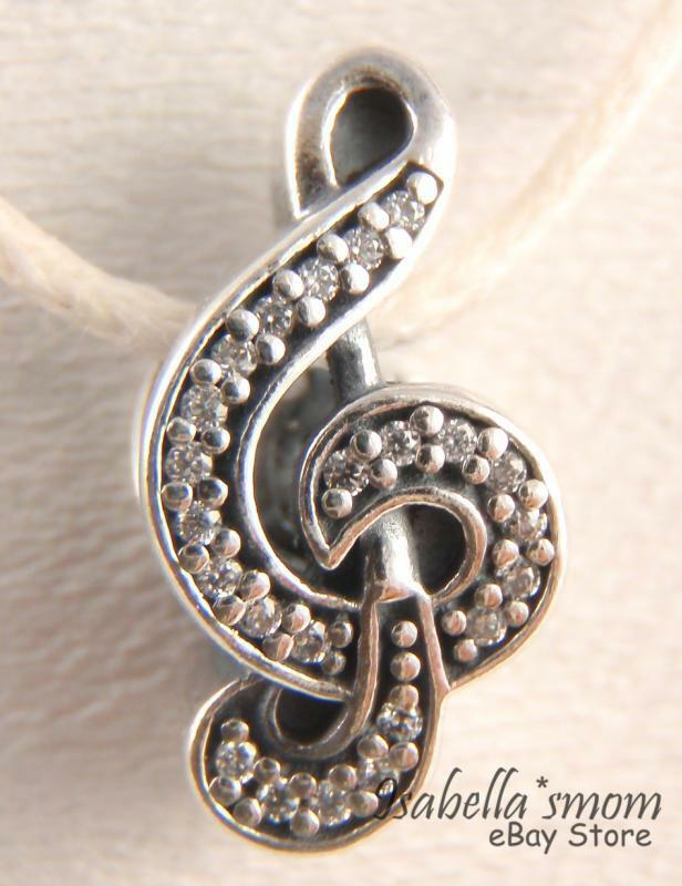 Sweet Music Note Genuine Pandora Silver  Clear Cz Stones