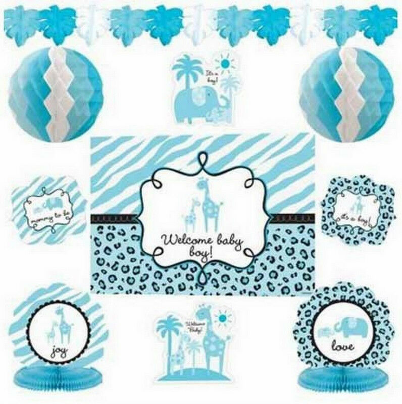 Sweet safari boy baby shower decorating kit 10 piece for Baby boy shower decoration kits