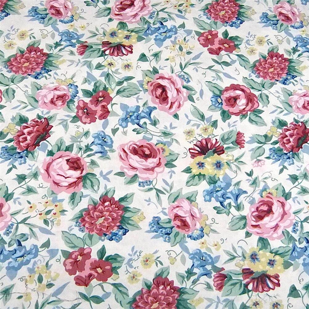 Vintage cotton fabric 23 x44 wonderful old fashioned rose for Vintage fabric