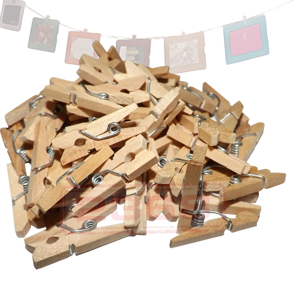 """50 Natural Wood Wooden Mini 1"""" inch Spring Clothespins ..."""