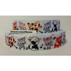 Grosgrain Ribbon,  Silly Multi Colored Kitty Cats with Fish Bones Paw Prints 7/8