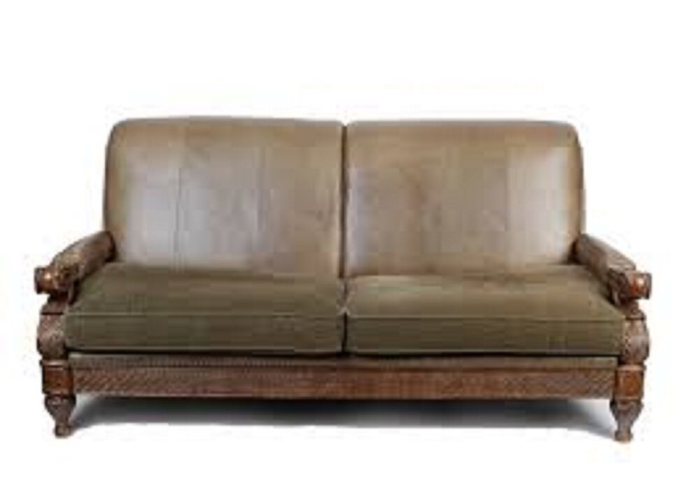 Old World Schnadig Living Leather Sofa and Chair Lot of 2
