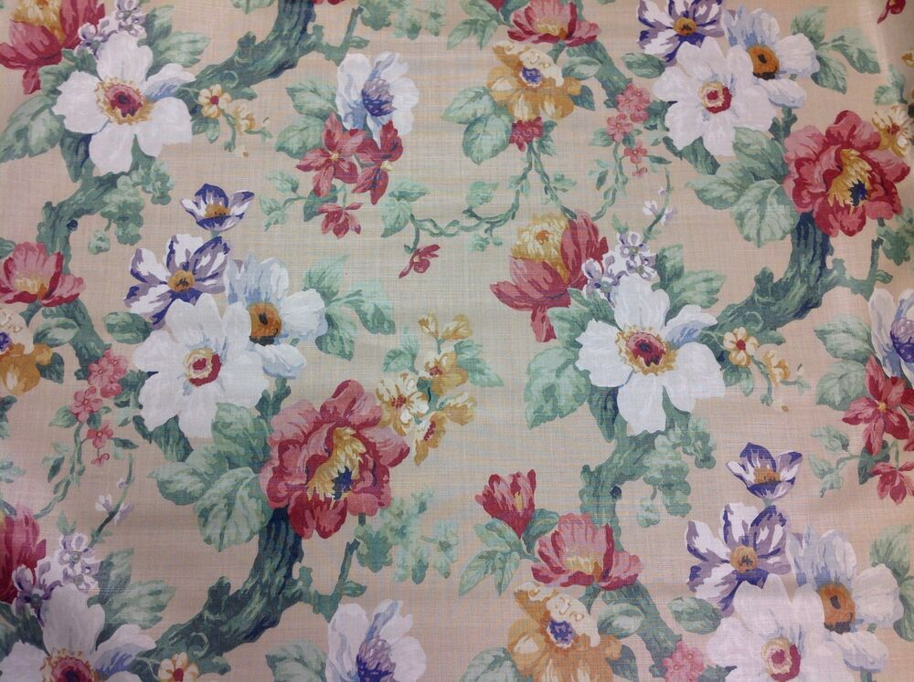 Lee jofa floral fabric jardin prive caramel chintz linen for Jardin floral
