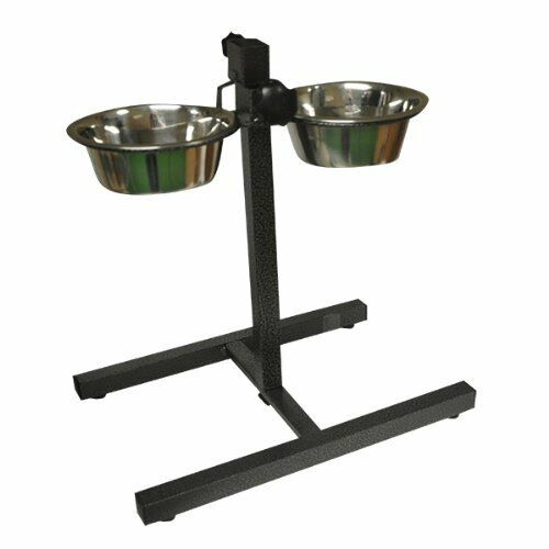 NEW STAINLESS STEEL DOUBLE PET DOG BOWLS ADJUSTABLE HEIGHT ... - photo#22