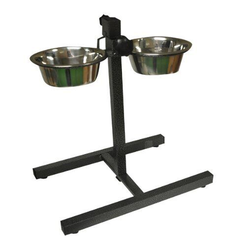 New Stainless Steel Double Pet Dog Bowls Adjustable Height