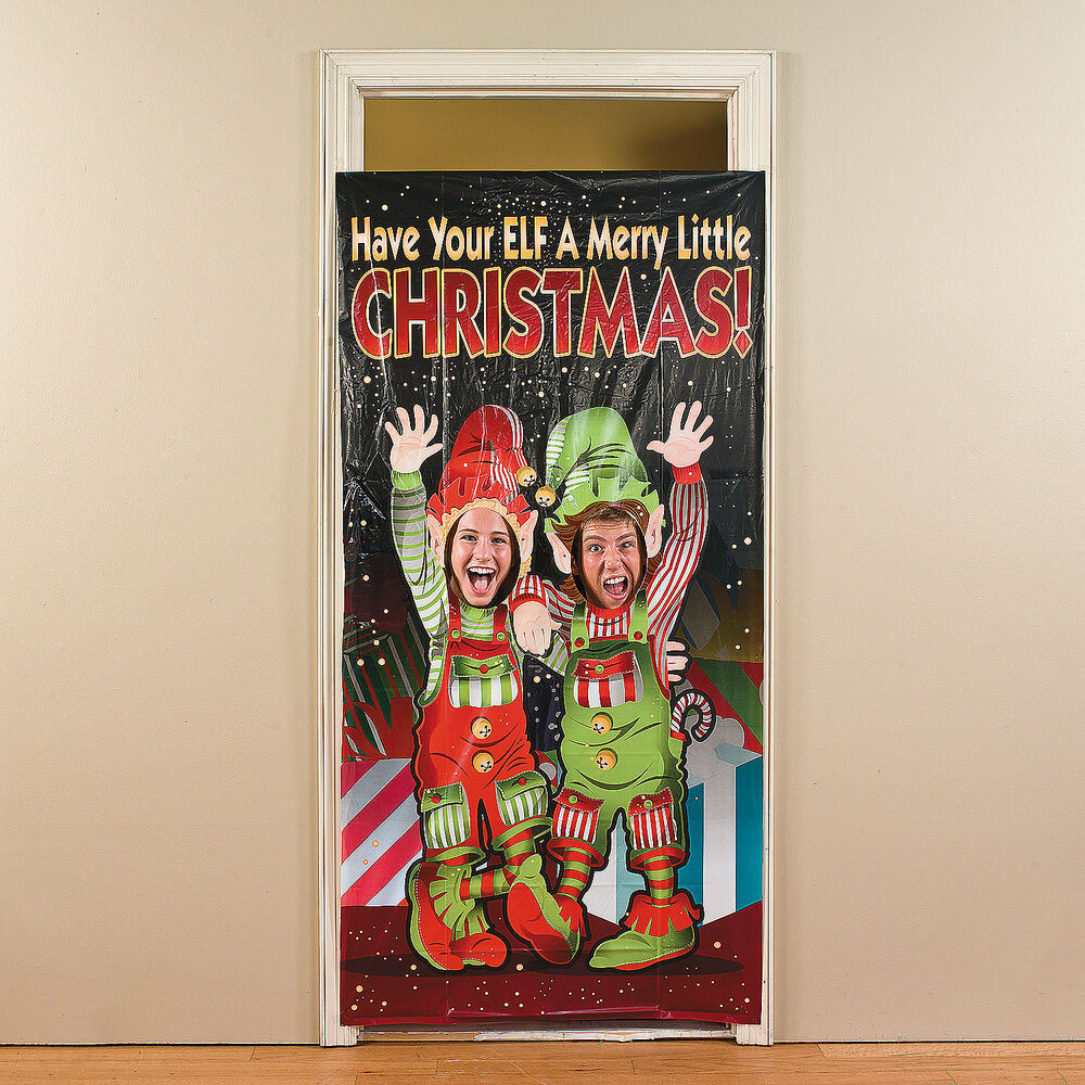 Christmas holiday winter party elf elves photo photographs for Elf door decoration