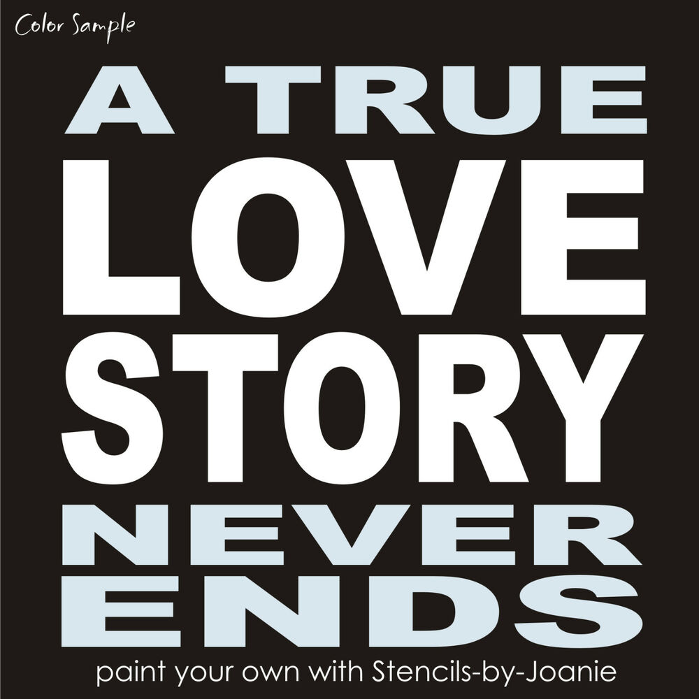 Stencil true love story never end block letter french typography stencil true love story never end block letter french typography art subway sign ebay ccuart Images