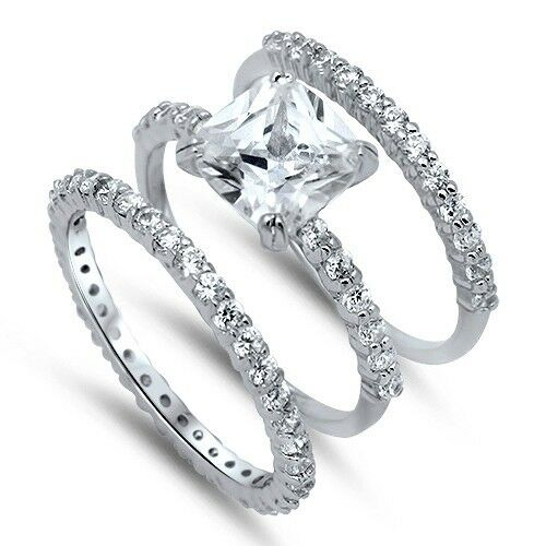 engagement ring wedding band set 925 sterling silver princess cut clear cubic zirconia 3910