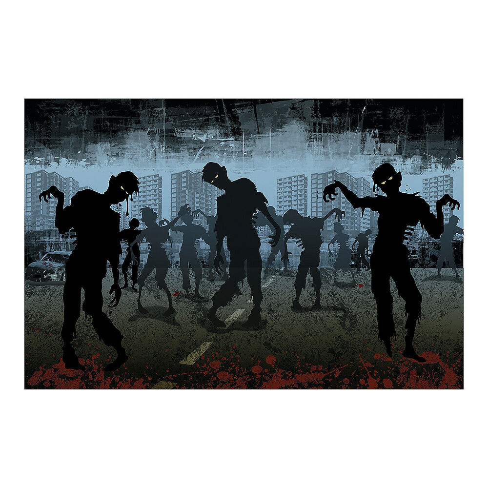 3pc set halloween party decoration prop zombie walking for Mural walking dead