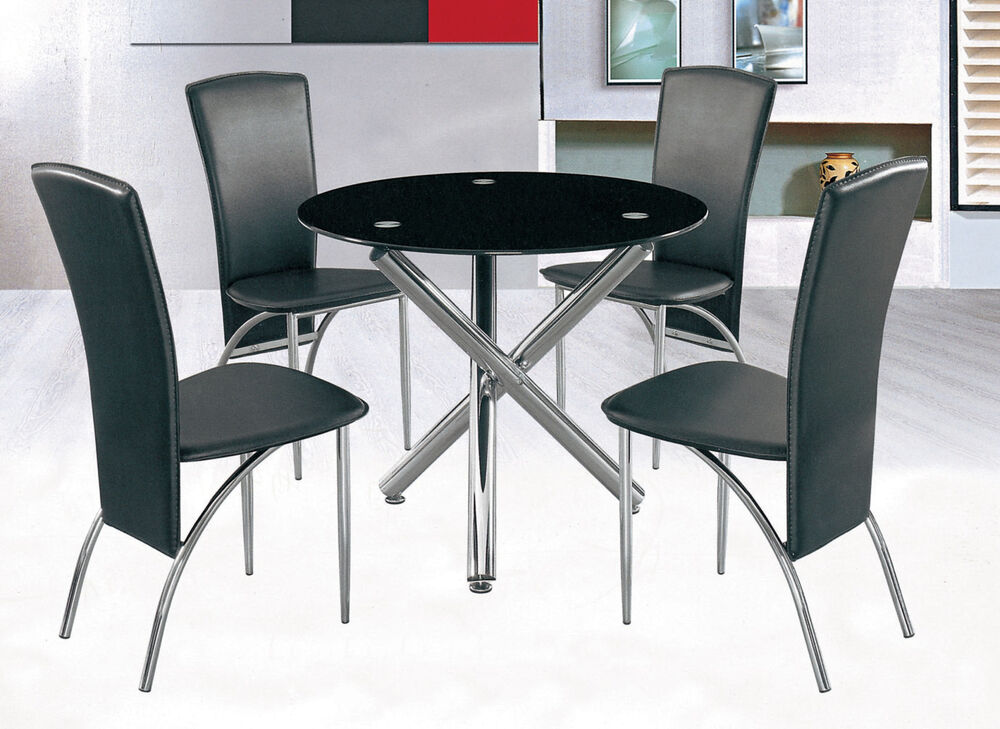 7Star Full Black Round Glass Dining Table And Or With 4