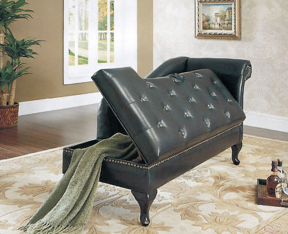 Faux leather chaise longue with storage living room arm for Black leather chaise longue