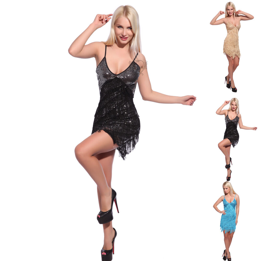 Retro 20s 30s Flapper Sequin Fringed Cocktail Party Dress Dance Costume Lined | eBay