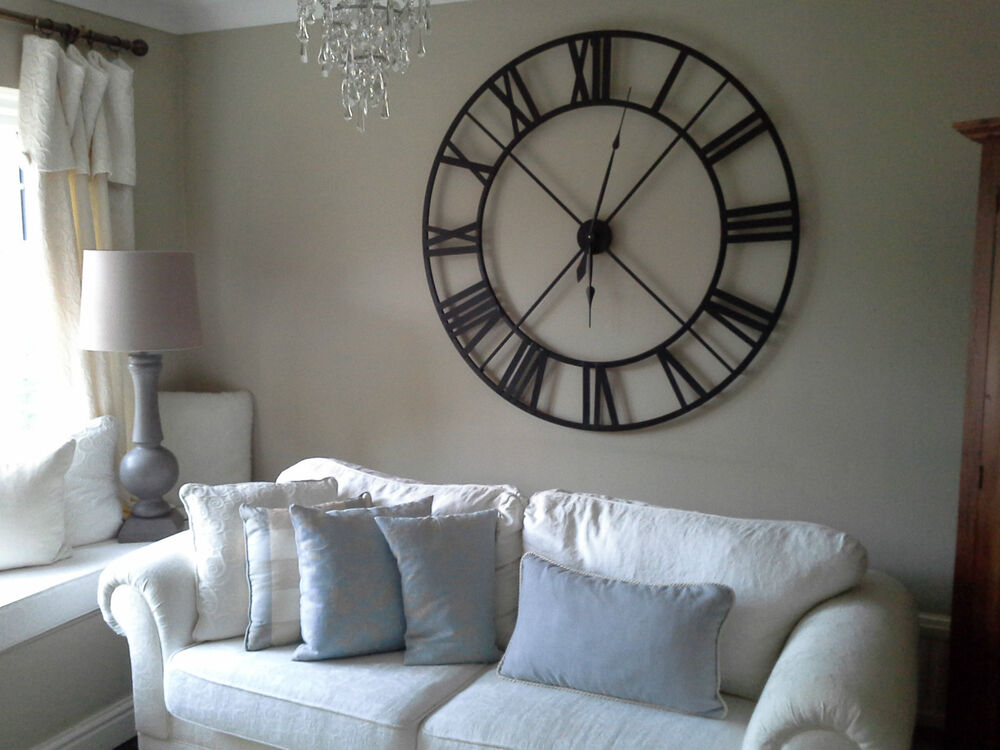 Extra large black metal roman numeral clock ebay - Large roman numeral wall clocks ...