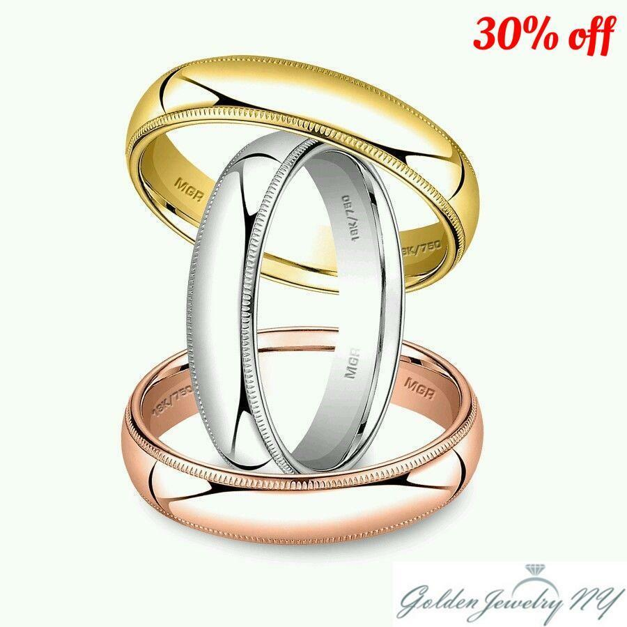 Solid 18k White Yellow Rose Gold Milgrain Comfort Fit