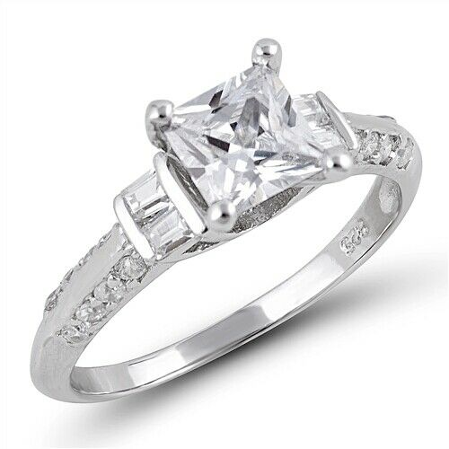 .925 Sterling Silver Engagement Princess Cut Clear CZ