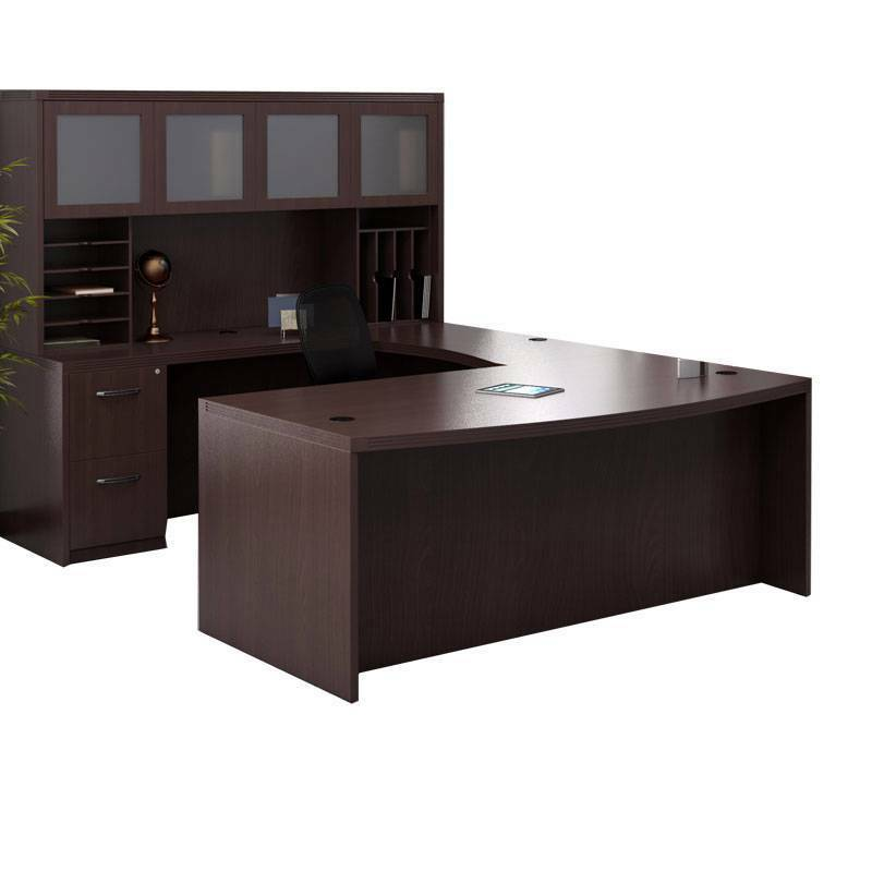 Mayline Aberdeen Executive U Shaped Desk 72 W Glass Door