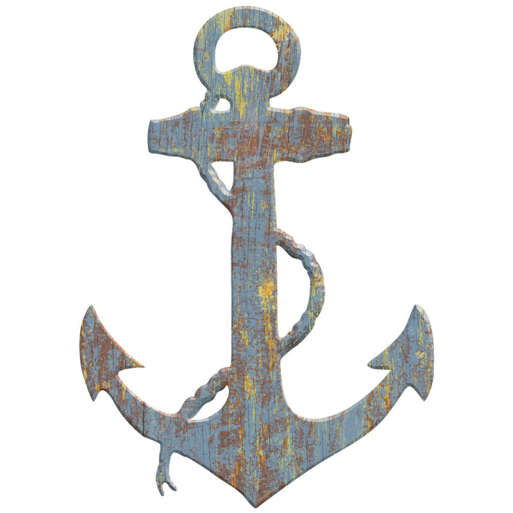 Anchor wood look cut out wall decal rustic nautical beach for Anchor decoration