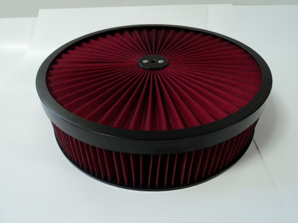 Drop Base Air Cleaner : Quot round red high flow thru washable air cleaner