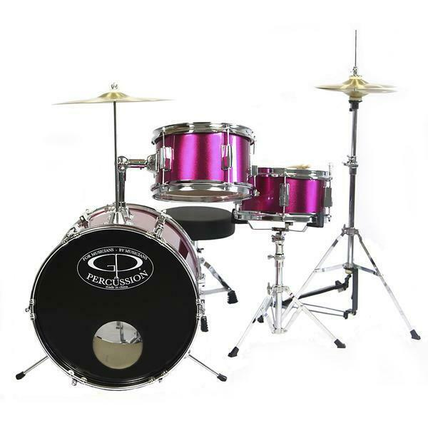 new high quality childrens pink drum set kids girls 3 pc kit w sticks cymbal ebay. Black Bedroom Furniture Sets. Home Design Ideas