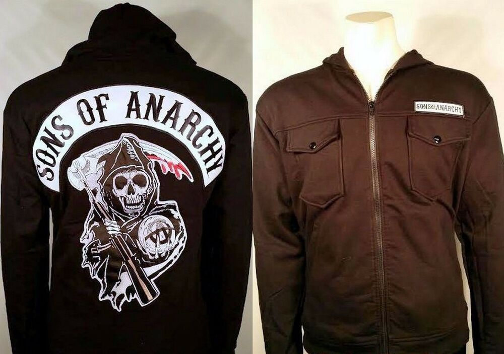 authentic sons of anarchy patch highway fleece soa zip up. Black Bedroom Furniture Sets. Home Design Ideas