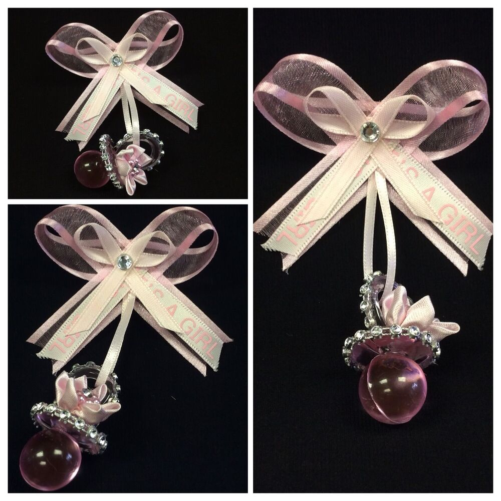 baby shower guest pin corsage pink pacifier girl ebay