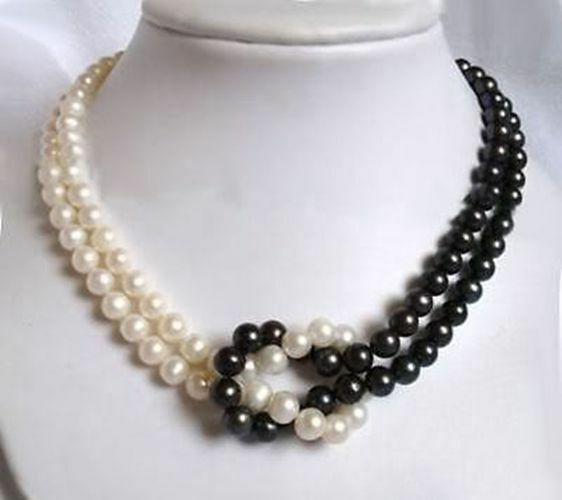 2rows 7 8mm Black White Akoya Cultured Pearl Necklace