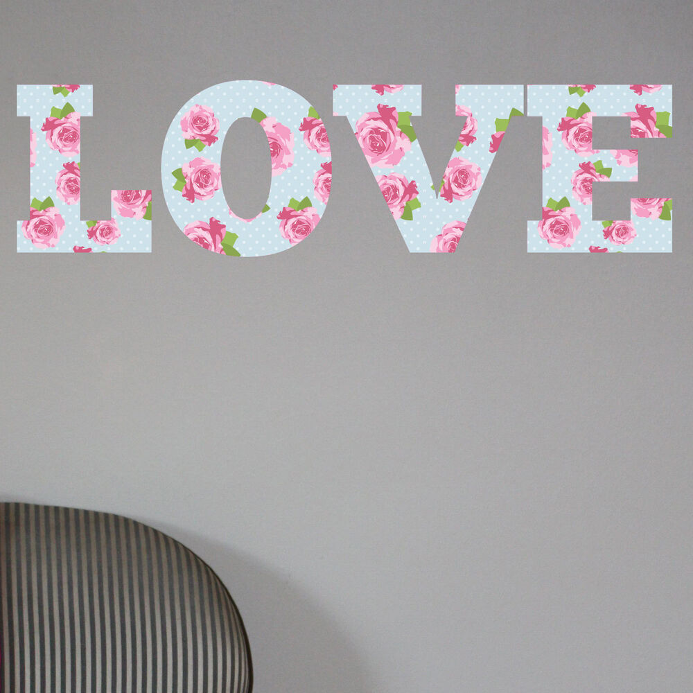 Wall art stickers shabby chic : Love shabby chic floral full colour wall sticker decal